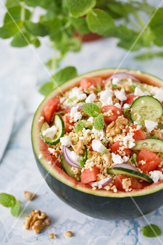 Watermelon salad with millet, cucumber and feta cheese