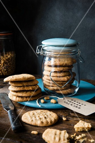 Peanut butter cookies in a jar and and next to it with a label