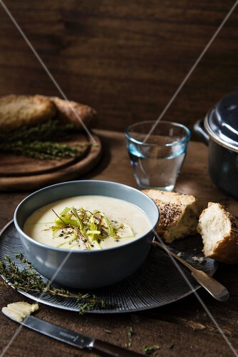 Cream of leek and potato soup with crispy strips of leek