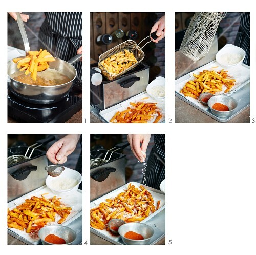 Sweet potato chips being made