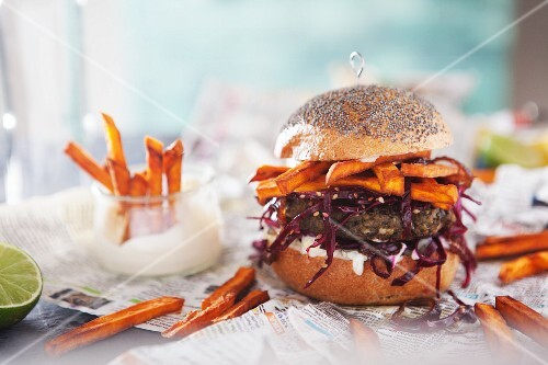 Lentil burger with sweet potato chips and lime mayonnaise