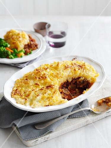 Cottage pie with a portion removed