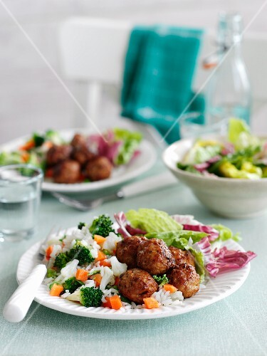 Cajun meatballs with vegetable rice