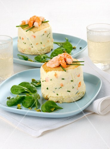Mascarpone flans with prawns and spinach