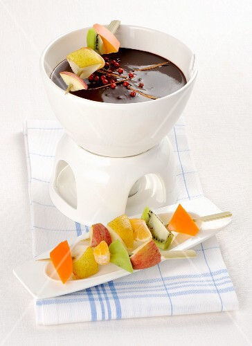 Chocolate fondue with fruit kebabs
