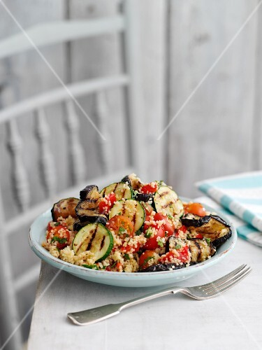 Couscous salad with aubergine, courgettes and mint