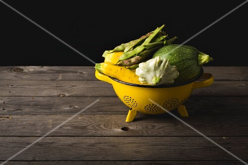Autumnal vegetables in a colander