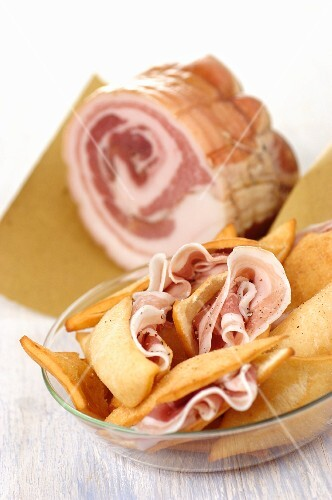 Pancetta & Gnocco fritto (bacon and fried bread dough, Italy)