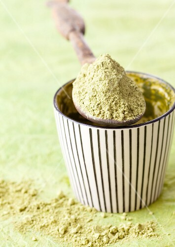 Matcha powder in a bowl and on a spoon