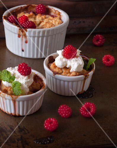 Three cobblers with wild raspberries and cream