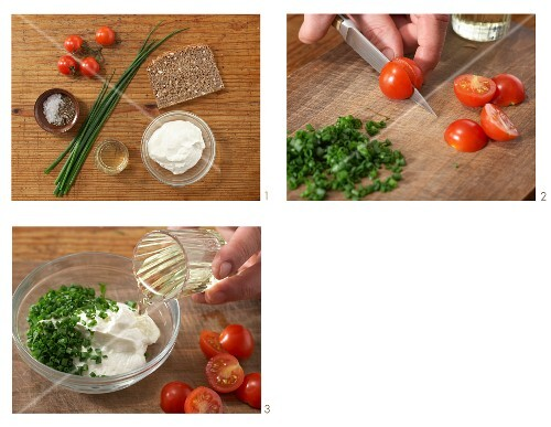 Seeded wholemeal bread with herb quark and cherry tomatoes being made