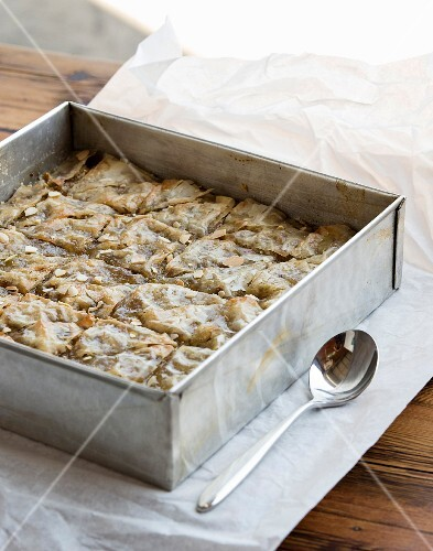 Baklava in a baking tray