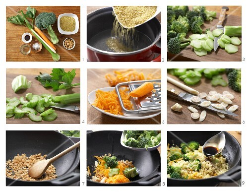 Oriental fried bulgur with broccoli and peanuts being made