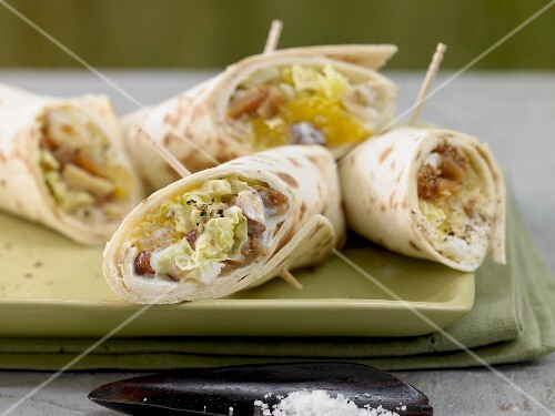 Chinese cabbage, orange and seed wraps