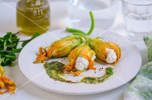Courgette flowers filled with Robiola cheese, peppermint pesto and chillis