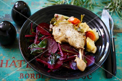 Duck confit with a beetroot medley