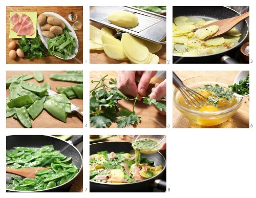 Potato omelette with ham and mange tout being made