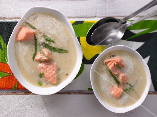 Cream of potato soup with salmon