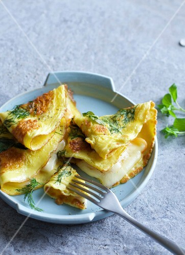 Herb pancakes with cheese