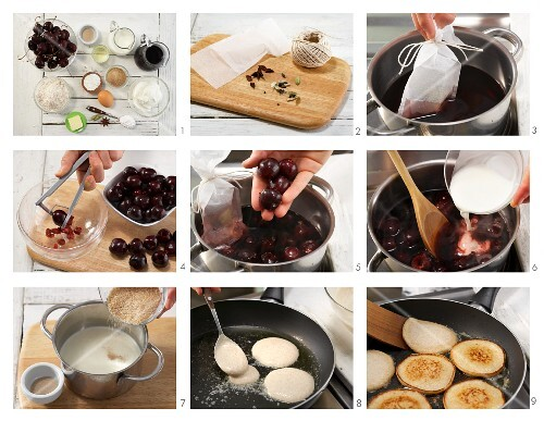 Quark pancakes with spiced cherry compote being made