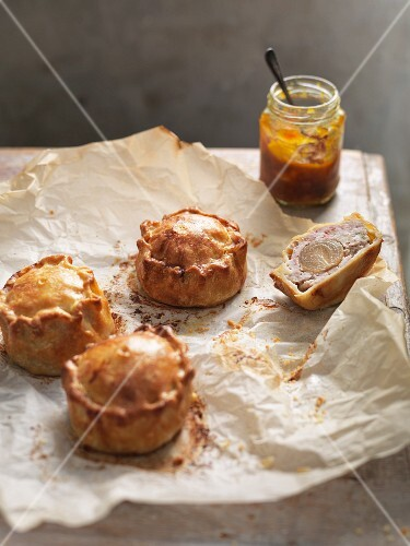 Pork pies with apple chutney