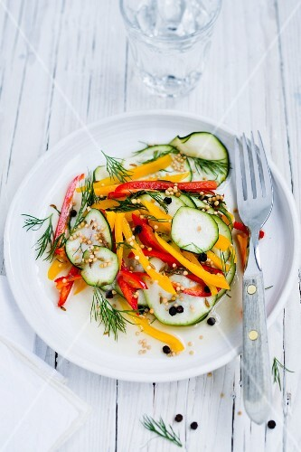 Pickled summer vegetables with dill