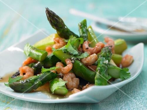 Stir-fried green asparagus with northern prawns