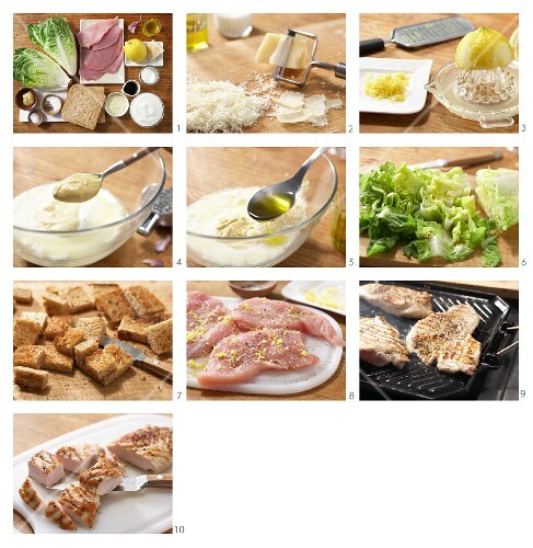 How to prepare cos lettuce with lemon escalope, croutons and Parmesan