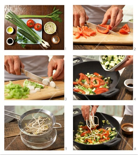 How to prepare stir-fried wok vegetables with bean sprouts