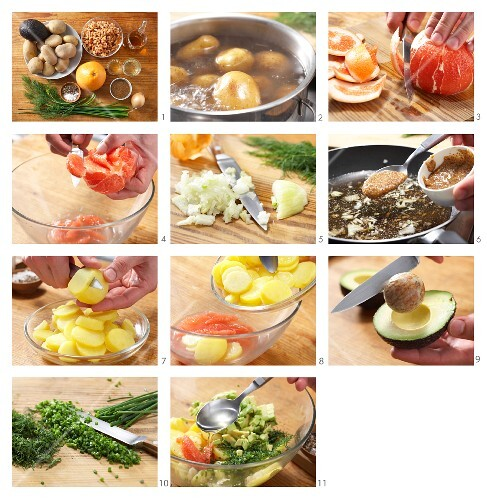 kartoffel avocado salat mit nordseekrabben zubereiten bild kaufen 11984353 stockfood. Black Bedroom Furniture Sets. Home Design Ideas