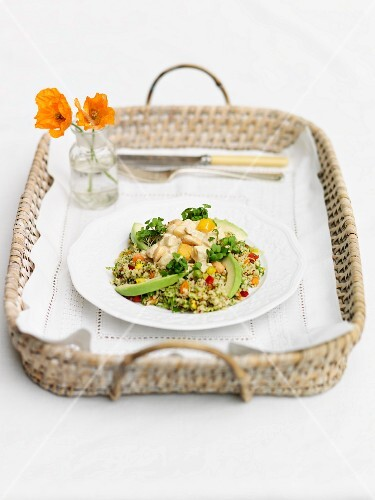 Coronation chicken with wholegrain salad, mango and toasted cashews