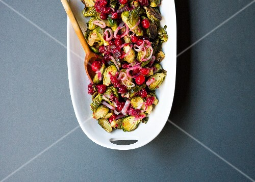 Roasted Brussels sprouts with cranberries, maple syrup and whiskey butter