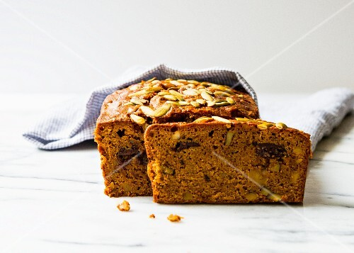 Sliced pumpkin and walnut bread with chocolate chips