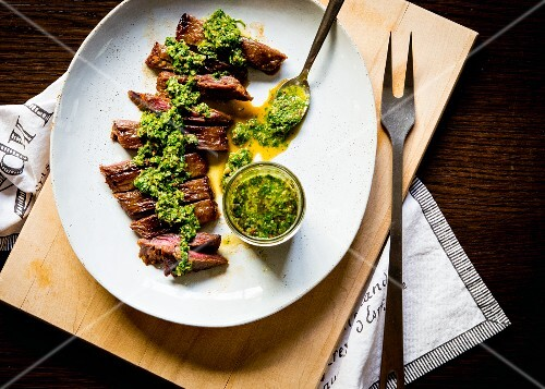 Grilled skirt steak with chimi-churri sauce