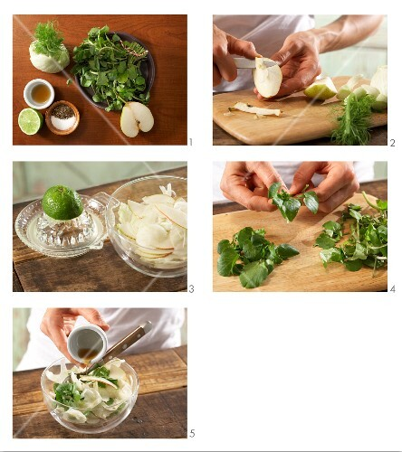 How to prepare pear salad with fennel and watercress