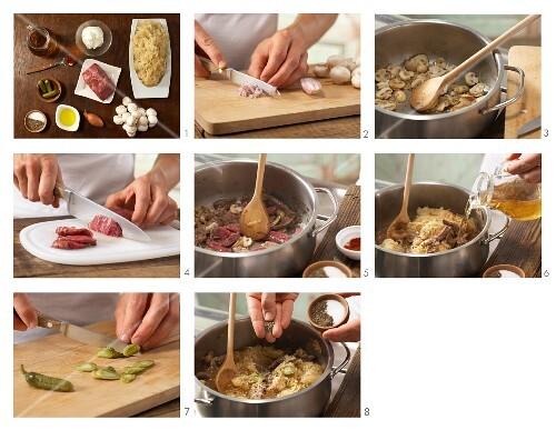 How to prepare sauerkraut stew with beef, mushrooms and gherkins