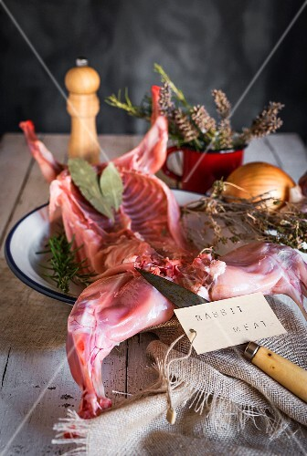 Raw rabbit with herbs and spices on wooden table