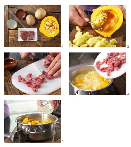 How to prepare pumpkin and lamb purée