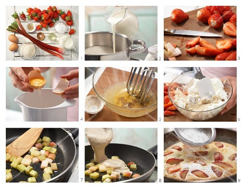 How to prepare semolina pancakes with rhubarb and strawberries