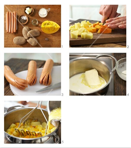 Preparing potato and pumpkin purée with sausage