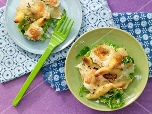 Savoy cabbage bake with potato orzo pasta