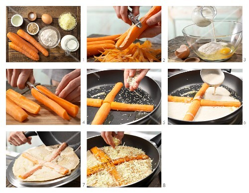 How to prepare a wholemeal pancake with carrots and sesame seeds