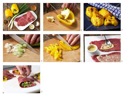 How to prepare beef pockets filled with pepper and leek