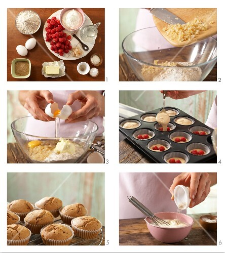 How to prepare wholegrain muffins with ginger, vanilla cream and raspberries