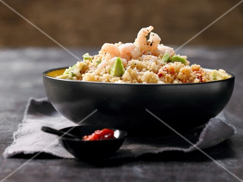 Couscous salad with prawns and avocado