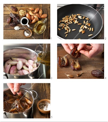 Dates and shallots in balsamic vinegar being made