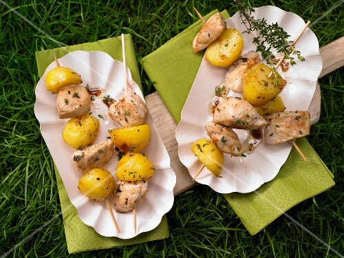 Chicken & potato kebabs