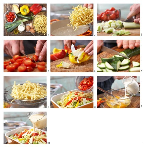 How to prepare gratinated Spätzle (soft egg noodles)