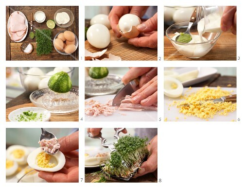 How to prepare wasabi eggs with cress and turkey breast