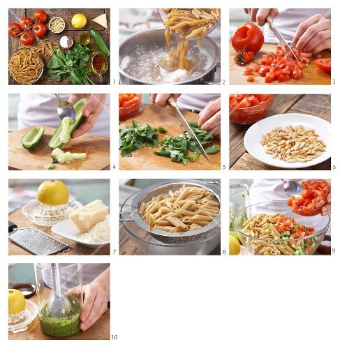 How to prepare pasta salad with pesto and vegetables